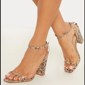 Snake Square Toe Block Heels